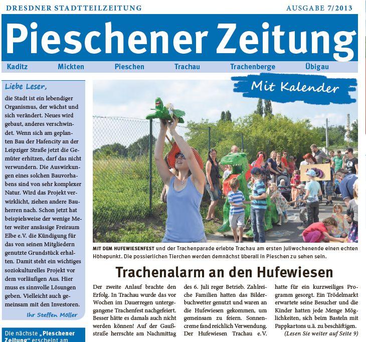 Die Trachenparade in der Pieschener Zeitung vom Juli 2013 - Teil 1