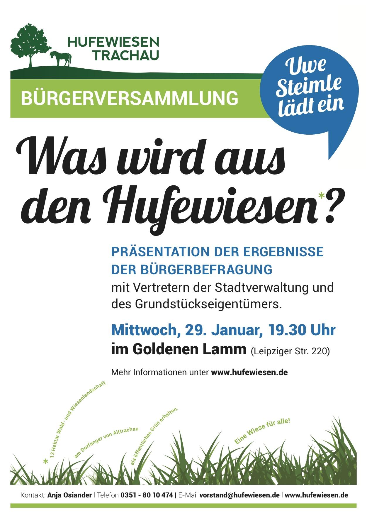 Plakat mit der Einladung zur Bürgerversammlung am 29.1.