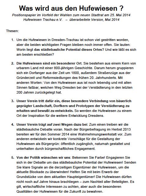 Was wird aus den Hufewiesen? Thesen zur Komunalwahl, Mai 2014.