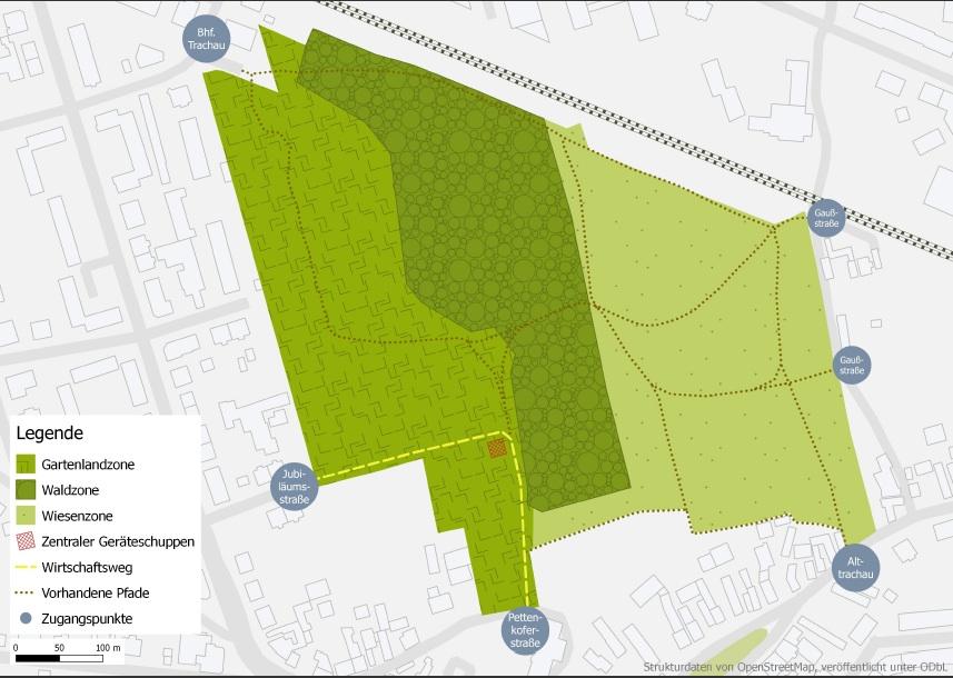 Hufewiesen als Bürgergrün: Drei Zonen, wenig Infrastruktur.