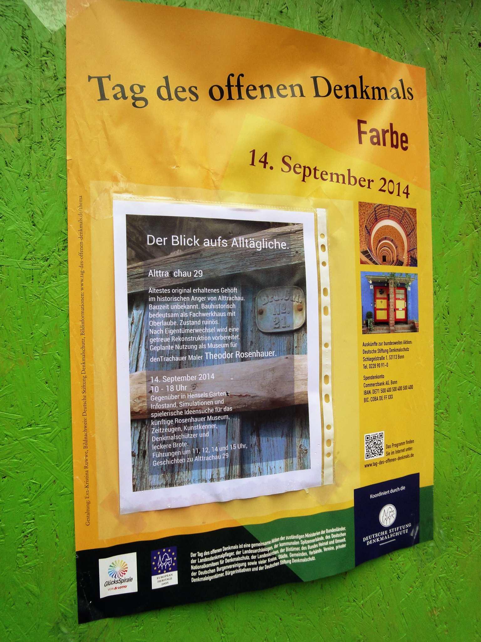 Ankündigung der Rosenhauer-Aktion am Tag des offenen Denkmals 2014